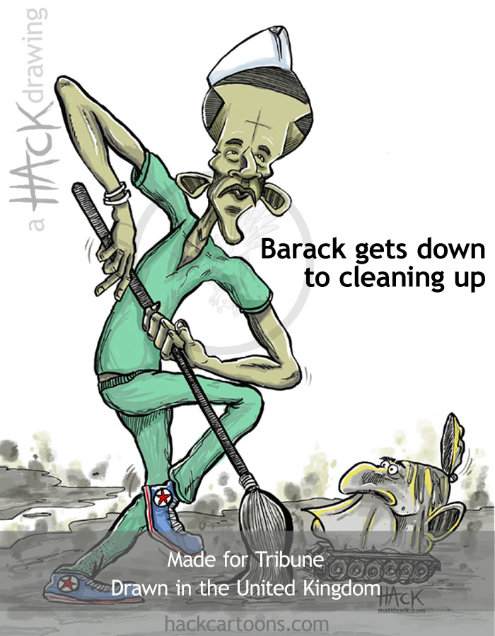 Barack Obama cartoon for Tribune magazine cover image. © Matt Buck Hack cartoons. Drawn in the UK