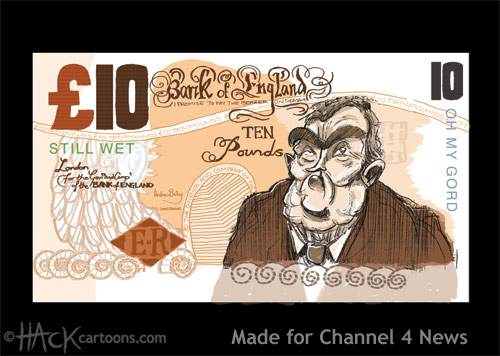 Gordon Browner, of, the imaginary ten pound note (Gordon Brown Tenner © Matt Buck Hack Cartoons. Made for Channel 4 News in the Uk
