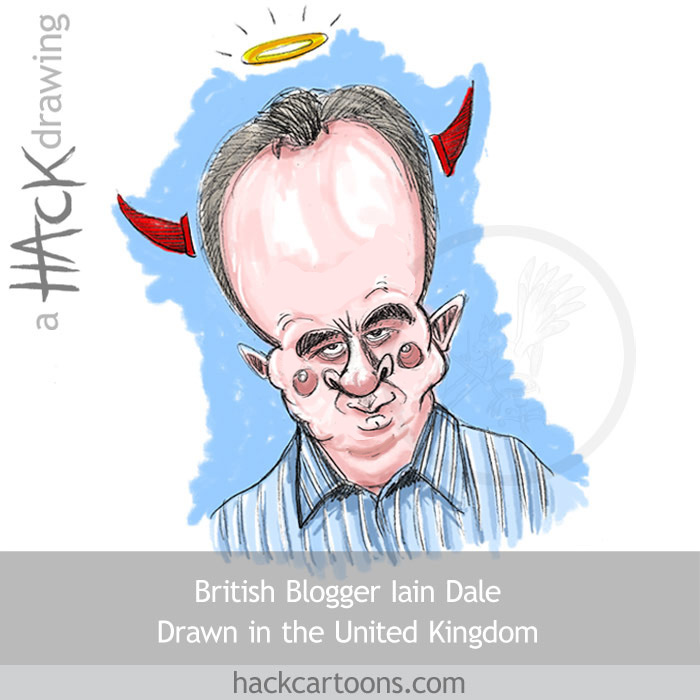 Caricature of Iain Dale, british Conservative blogger and publisher © Matt Buck Hack Cartoons