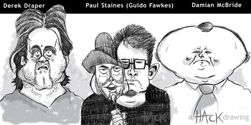 Damian McBride, Paul Staines (aka Guido Fawkes) and Derek Draper