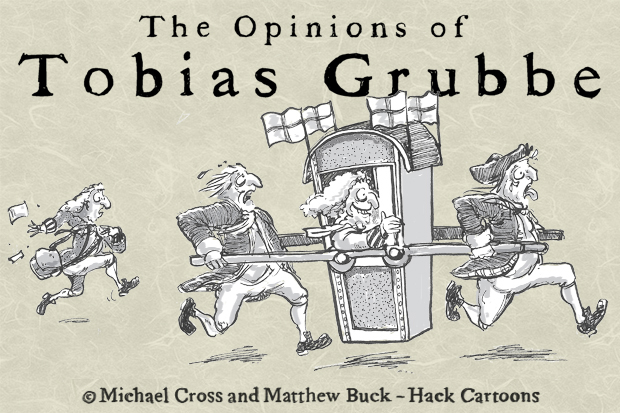 Tobias Grubbe animated video cartoon caricature © Michael Cross and Matthew Buck - Hack cartoons