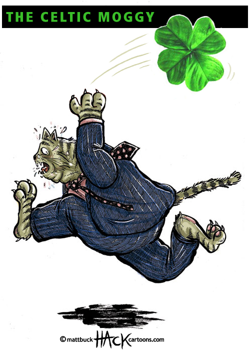 Fat_cat_Ireland with Celtic Moggy © Matt Buck Hack Cartoons
