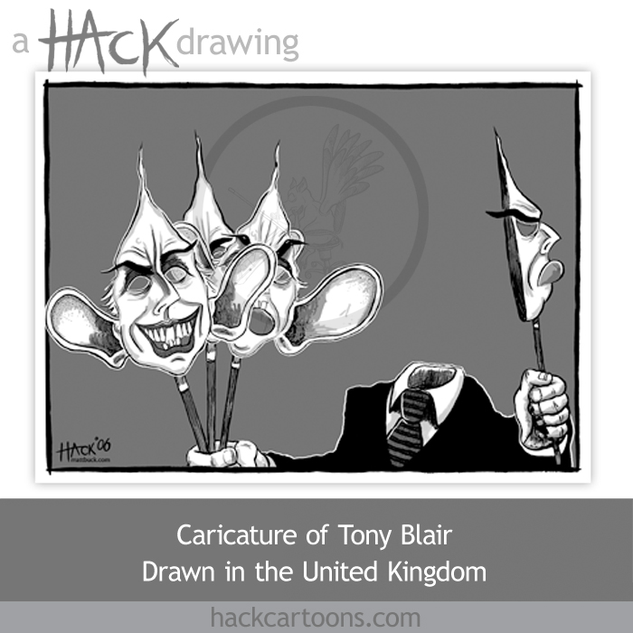 Tony Blair Author of The Journey book. A cartoon caricature © Matt Buck Hack Cartoons