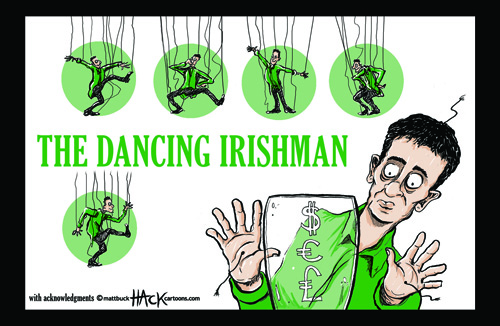Ireland and the EU, IMF, ECB financial bailout cartoon © Matthew Buck Hack Cartoons