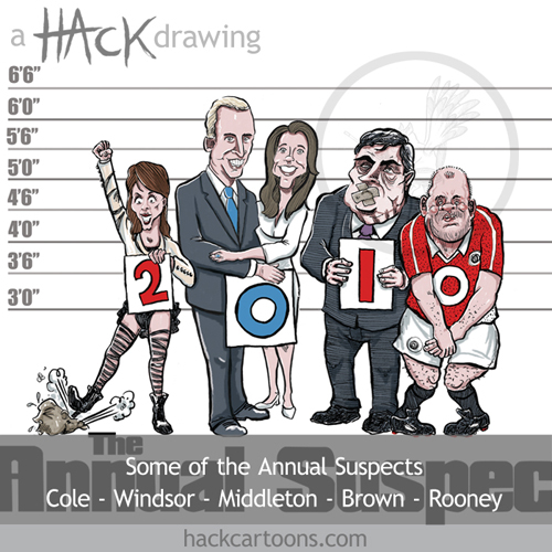 Cheryl Cole, prince William, Kate Middleton. Gordoan browna nd Wayne Rooney cartoon caricature 2010 © Matt Buck hack Cartoons