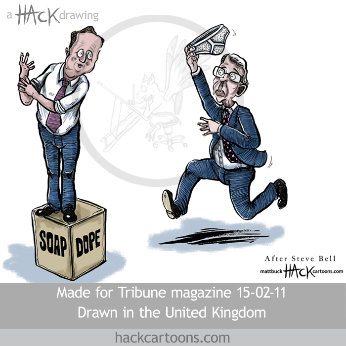 David Cameron as John Major cartoon with the passing of the underpants © Matthew Buck Hack Cartoons