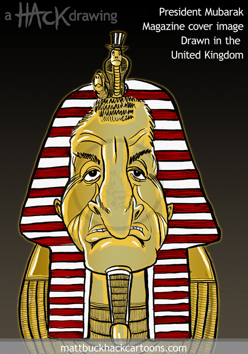 Caricature of Hosni Mubarak former President of Egypt © Matthew Buck Hack Cartoons