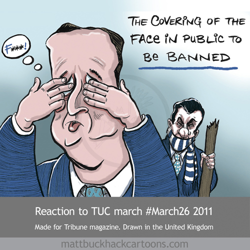 PM Cameron and Chancellor Osborne react to the TUC Cuts march of 26 March 2011 © Matthew Buck Hack Cartoons