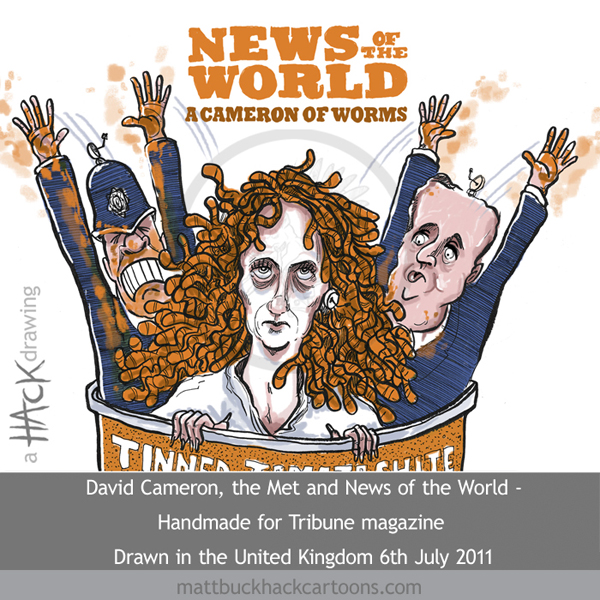 Cartoon: News of the World, the Met Police and PM David Cameron © Matthew Buck Hack Cartoons