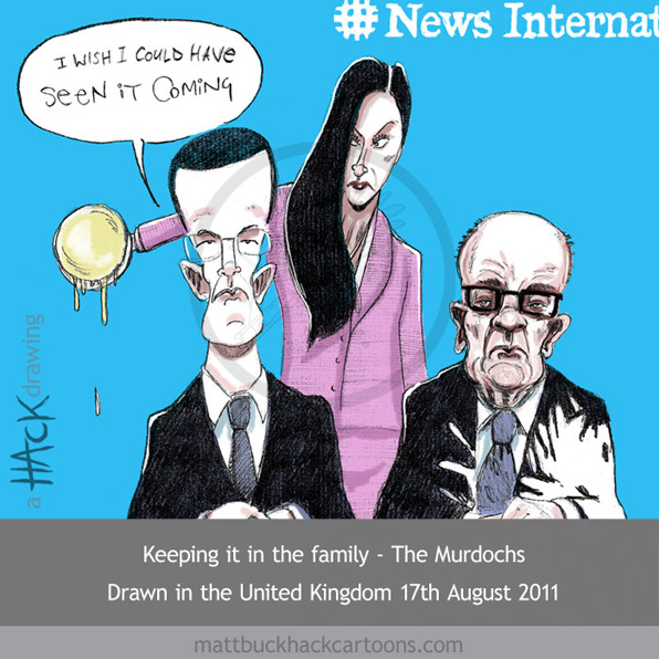 Cartoon: James, Rupert Murdoch and Wendi Deng © Matthew Buck Hack Cartoons