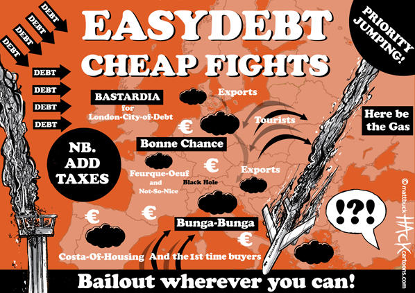 Cartoon: EasyDebt - Cheap Fights in Europe © Matthew Buck Hack Cartoons