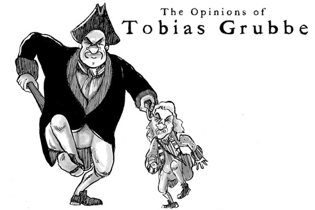Tobias Grubbe animated cartoon 26th September 2011 © Michael Cross and Matthew Buck Hack Cartoons