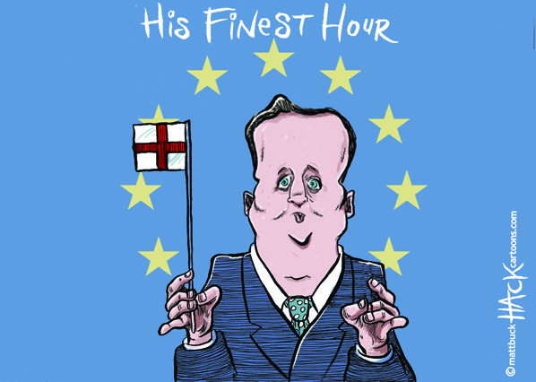 Cartoon_PM_David_Cameron_in_Europe © Matthew Buck Hack Cartoons