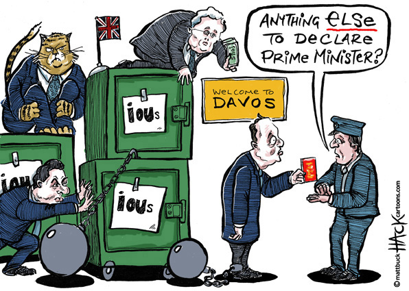 Cartoon:  Prime Minister Cameron speaks in Davos at the World Economic Forum 2012 © Matthew Buck Hack Cartoons