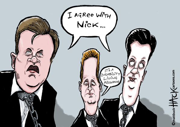 Cartoon: Ed Miliband and Ed Balls agree with Nick Clegg © Matthew Buck Hack Cartoons