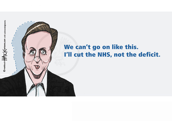 Cartoon: David Cameron's plans for the NHS and the 'deficit' © Matthew Buck Hack Cartoons