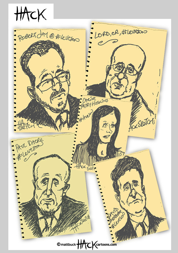 Drawnalism, Robert Jay, Lord leveson, Carine Patry-Hoskins, Paul Dacre, David Sherborne at the Leveson Inquiry - 6th February 2012 © Matthew Buck Hack Cartoons