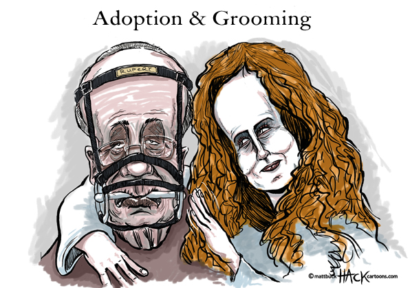 Cartoon: Adoption and Grooming - Rupert Murdoch and Rebekah Brooks © Matthew Buck Hack Cartoons