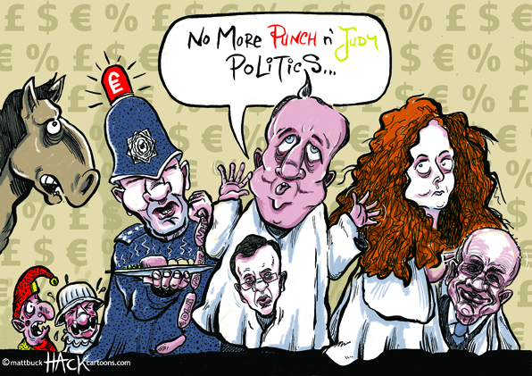 Hack Cartoon: PMQs directed by Judge Brian Leveson © Matthew Buck Hack Cartoons