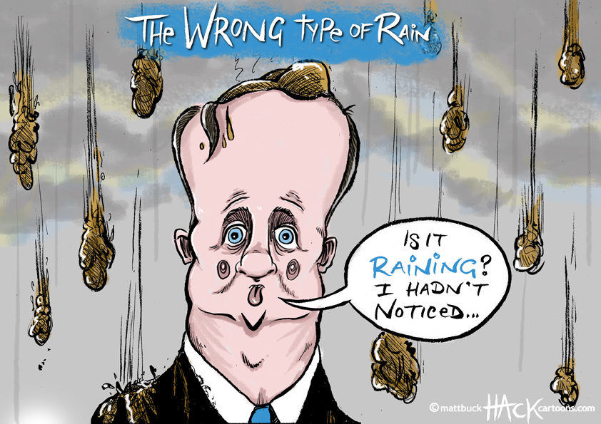 Cartoon: The wrong type of rain in the Uk for PM David Cameron © Matthew Buck Hack Cartoons