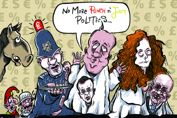 Cartoon: No more punch and judy politics at Leveson Inquiry © Matthew Buck Hack Cartoons