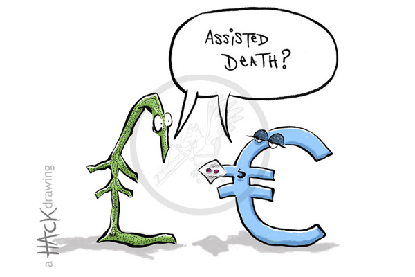 Cartoon: Money - Pound sterling and Euro © Matthew Buck hack Cartoons