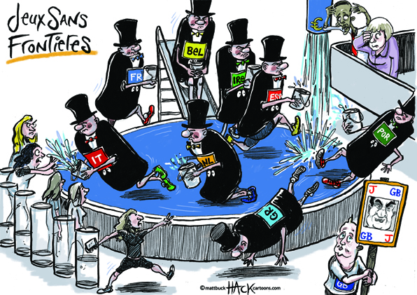 Cartoon_Jeux_Sans_Frontieres and the Euro © Matthew Buck Hack Cartoons
