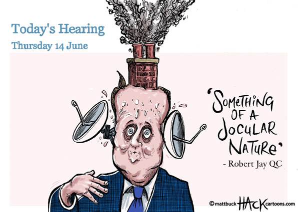 Cartoon: Prime Minister David Cameron at The Leveson Inquiry © Matthew Buck Hack Cartoons