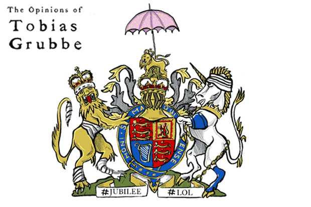 Animated cartoon - The Oplinions of Tobias Grubbe for the UK Diamons Jubilee 4th June 2012 © Michael Cross and Matthew Buck Hack Cartoons