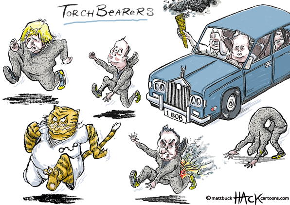 Cartoon: Team GB Olympic Torch bearers © Matthew Buck Hack Cartoons