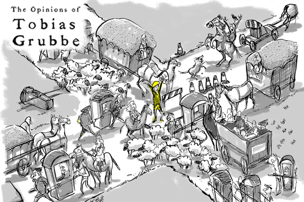 Cartoon: Tobias Grubbe cartoon Episode 108 © Michael Cross and Matthew Buck Hack Cartoons