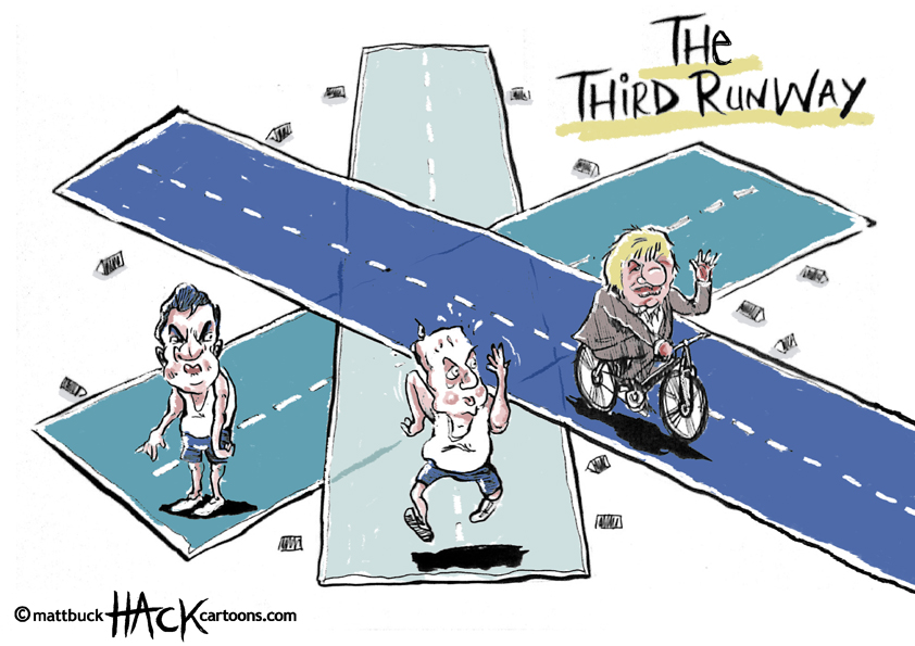 Cartoon: The Third Runway inside The Conservative Party © Matthew Buck Hack Cartoons