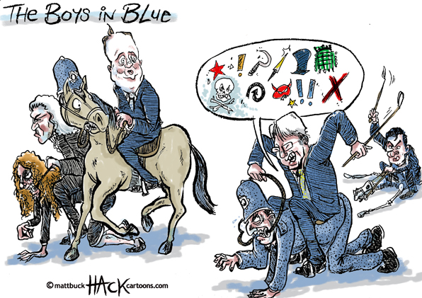 Cartoon: Andrew Mitchell Chief Whip and the Boys in Blue_October 2012© Matthew Buck Hack Cartoons