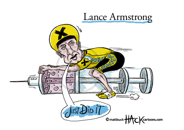 Cartoon_Lance_Armstrong_Drug_Cheat_previously_with_Nike © Matthew Buck Hack Cartoons
