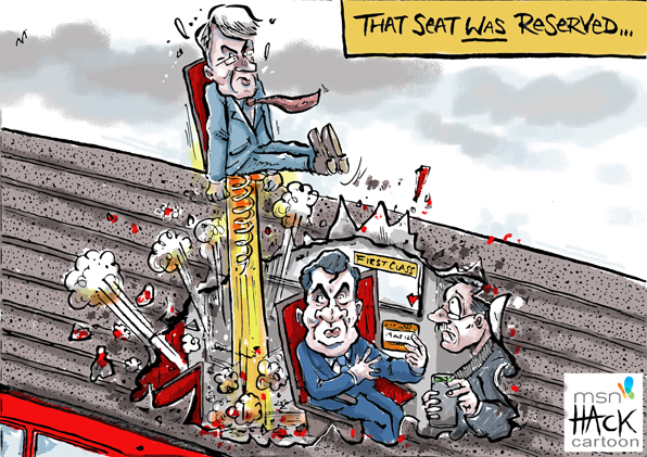 Cartoon: Andrew Mitchell resigns from George Osborne's train © Matthew Buck Hack Cartoons