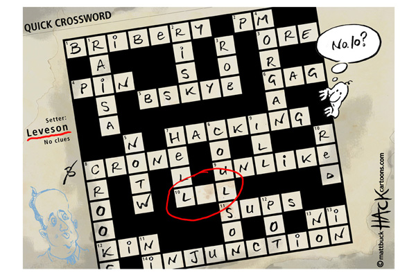 Hack cartoon 17: The Leveson Report Quick Crossword © Matthew Buck Hack Cartoons