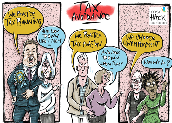 Cartoon, tax avoidance and evasion in the Uk © Matthew Buck Hack Cartoons