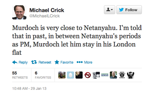 Michael Crick on Murdoch and Netanyahu
