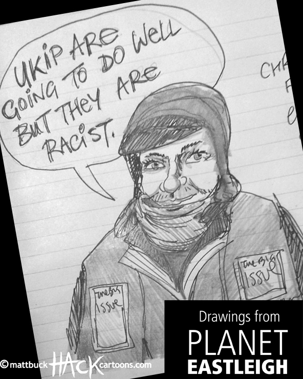 Drawnalism: Big Issue seller at Eastleigh By-election © Matthew Buck Hack Cartoons