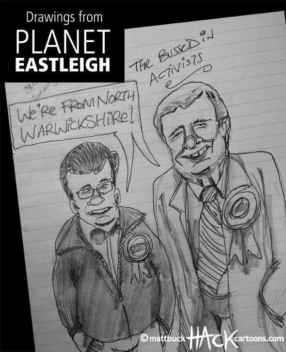 Drawnalism: Bussed In Conservative activists at Eastleigh by-election © Matthew Buck Hack Cartoons
