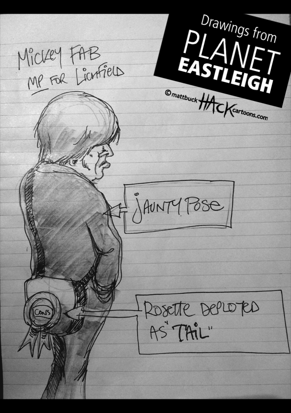 Drawnalism: Michael Fabricant MP at Eastleigh By-election © Matthew Buck Hack Cartoons