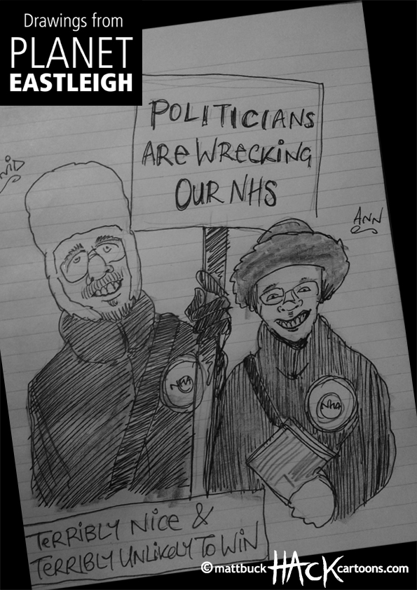Drawnalism: National Health Action party at Eastleigh by-election © Matthew Buck Hack Cartoons