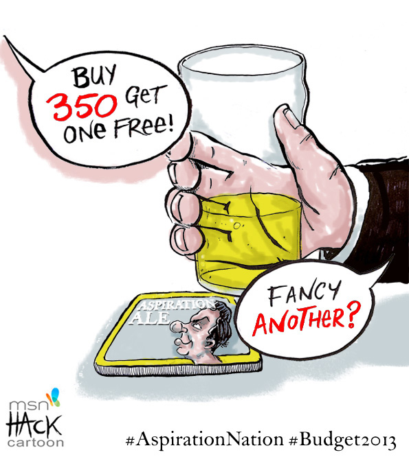 Cartoon: One penny off Beer at the 2013 budget © Matthew Buck hack Cartoons for MSN News UK