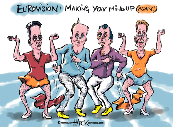 Cartoon - UK EU Eurovision with Miliband, Cameron, Farage and Clegg © Matthew Buck Hack Cartoons