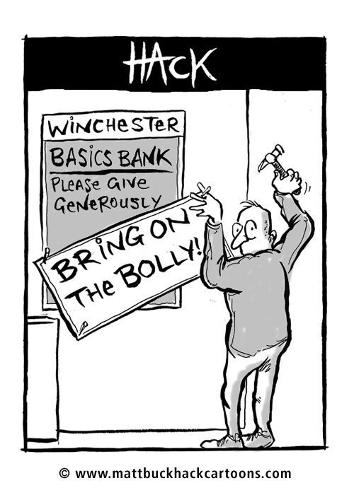 Cartoon_Basics_Food_Bank_Champagne © Matthew Buck Hack Cartoons for Hampshire Chronicle