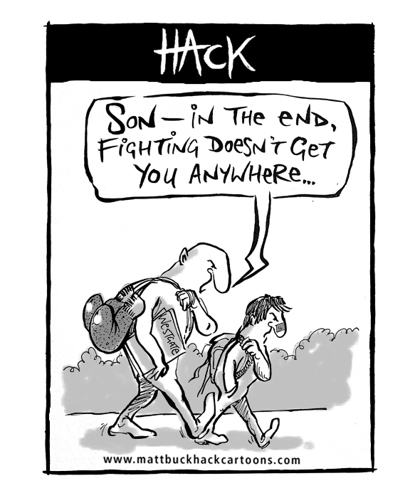 Cartoon_Fighting_goes_nowhere_son © Matthew Buck Hack Cartoons for Hampshire Chronicle