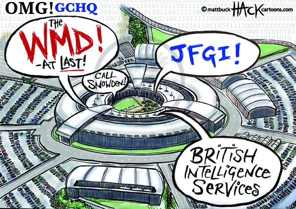 Cartoon: GCHQ and the US Prism surveillance programme © Matthew Buck Hack Cartoons for http://tribunecartoons.com