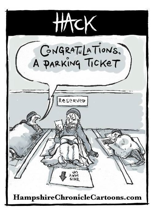 Cartoon_The_Homeless_In_the_Car_Park_©_matthew Buck_Hack Cartoons for Hampshire Chronicle