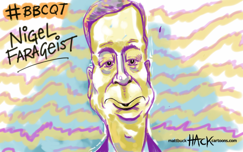 Cartoon: Sketchbook Nigel Farage on BBC Question Time © Matthew Buck hack Cartoons
