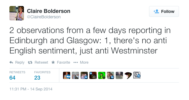 Claire Bolderson reporting from #indyref